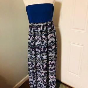 Blue boho maxi dress strapless